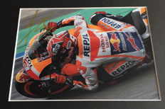 Framed photo,  authentic and personally hand signed by Marc Marquez