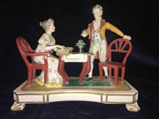 Thuringer Porcelain - scene of man and woman, marked