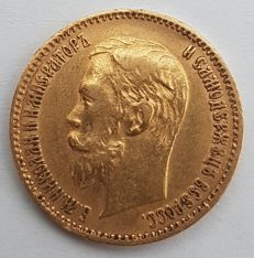Rusland - 5 Roubles 1900 - goud