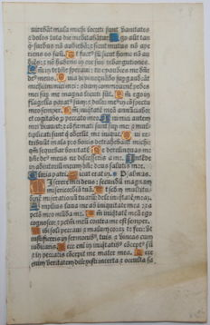 Original page from a Book of Hours from France - 1518