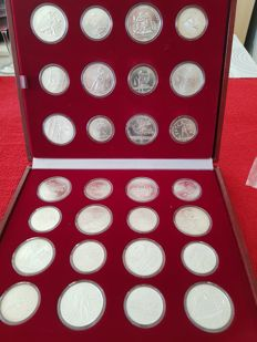 Russia - Coin set «1980 Moscow Olympic Games», 14 x 5 roubles and 14 x 10 roubles 1977-1979