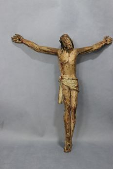 Large Christ crucified - carved wood sculpture - old Portuguese school from the 19th century