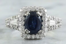 3.10 Carat Sapphire 14K Solid White Gold Diamond Ring *** Free shipping *** No Reserve *** Free Resizing