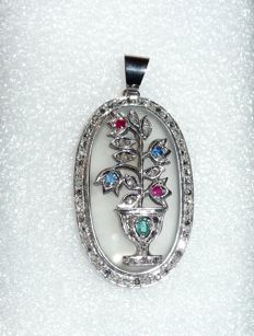Large Art Deco pendant, 14 kt / 585 white gold with 62 rose-cut diamonds + emerald, sapphire, ruby, 23 g