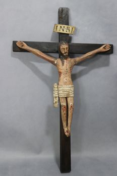 Christ crucified - carved wood sculpture - old 18th century Portuguese school