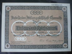 Share over 1000 RM of the Auto-Union AG from 1932, today's Audi AG