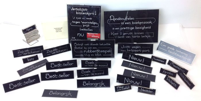 "Office trade advertising. Collection ""Pootjesglas"" specifically for the Office Bookstore. More than 25 pieces including many metal brackets for glass slides"