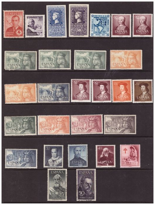 Spain 1945/1953 - Lot of 28 stamps and complete series of the 1st and 2nd Centenary.