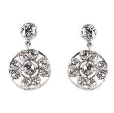 Platinum earrings featuring 1.80 ct (J VS1) of old European cut Diamonds 1915-1935