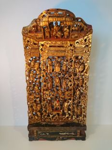 Large Lacquered & Gilded Shrine Panels - Chinese - ca 1900