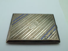 ANTIQUE SILVER enamel CIGARETTE CASE 835 HALLMARK 177 grams