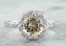 1.34 Carat Morganite And Diamond Ring In 14K Solid White Gold - Ring Size: 7 -No Reserve; Free Resizing