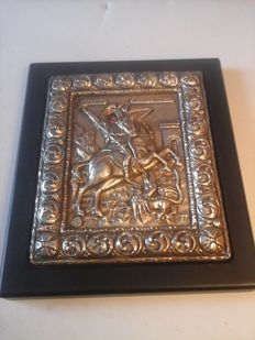 Greek Icon, 950/1000 Silver covered on wood base.