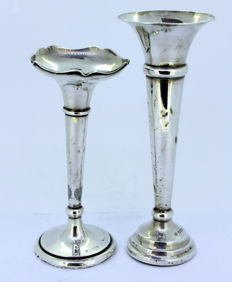 Pair of sterling silver vases, Sheffield 1896 & London 1908
