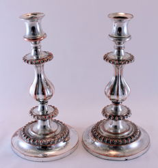 Pair of Victorian Silver Plate Candlesticks, Circa.1880