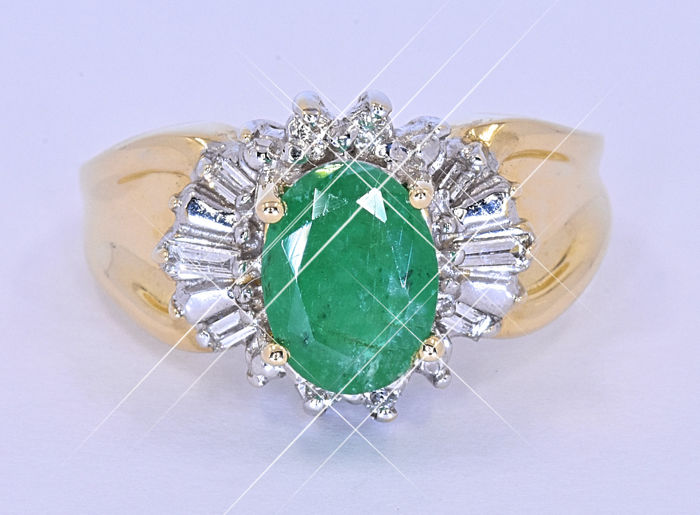 1,59 Ct Emerald and Diamond ring NO reserve price!