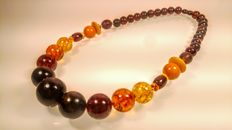 Mix colours modified round beads Baltic Amber necklace, length 55 cm