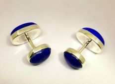 Lapis Lazuli Faceted Cabochon cufflinks 925 silver