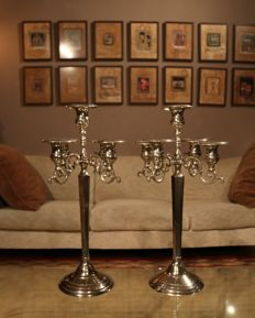 Pair of very beautiful large 5-arm candlesticks
