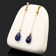 18k/750 yellow gold earrings briolette-shaped sapphires -  Length 47 mm.  - Sapphires weight 7 ct.