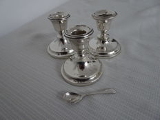 3 English sterling silver candle stands and English sterling silver mustard spoon