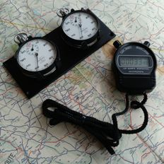 Rare 2x vintage Meylan Flyback / Split Stopwatches Rally / Race dash mounted set. 1960 - 1980.