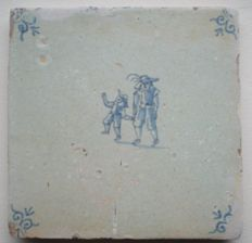 Antique tile with children's game (rare)