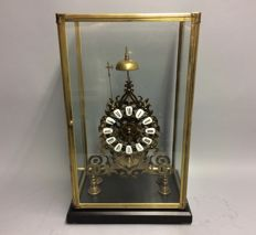 Skeleton clock within glass house with striking mechanism and fusee movement - mid 20th century - 1 year warranty