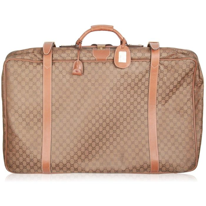 154be0323aa Gucci - Vintage Tan GG Monogram Canvas Suitcase Travel Bag ...