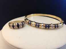Set of 18 kt gold bracelet and ring with diamonds and sapphires for 9.38 ct