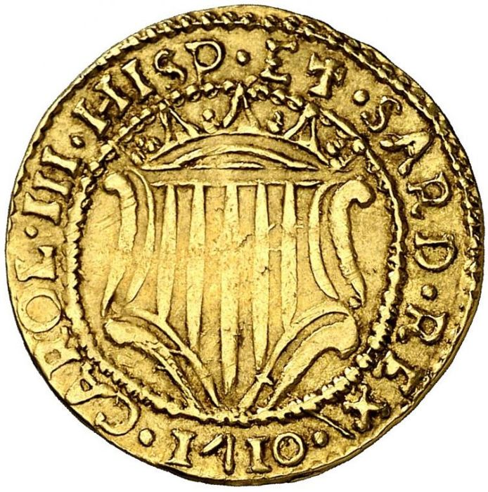 Spain, Charles III, The Pretender 1 escudo 1710 Cagliari 3.19 g Very scarce EF/XF+