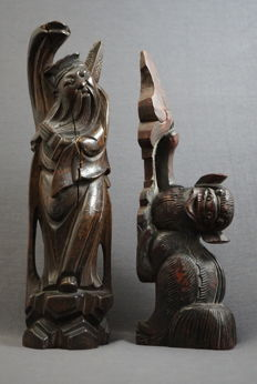 Woodcarvings: Thinker and Kylin - China - around 1920
