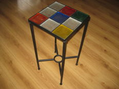Vintage design table with glass panels - 2nd half 20th century.
