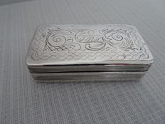 Dutch silver snuff box with beautiful engraving, second half 19th century
