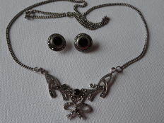 silver Art Deco collier with ear studs