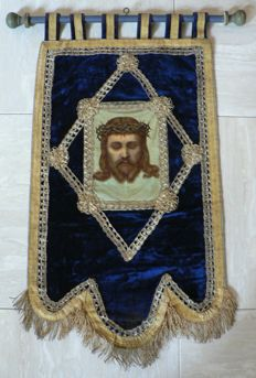 Liturgical church banner, velour (velvet), silk, gold brocade - Ghent (Belgium) - 18th - 19th century.