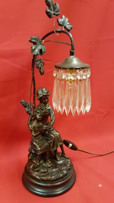 Table lamp mother / child with glass icicles, 20th century, Netherlands