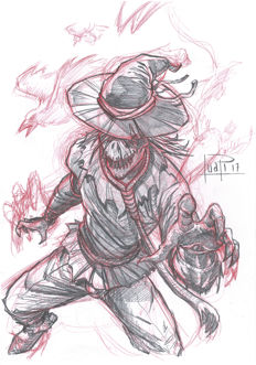 Scarecrow by Juapi - Original Preparatory Sketch
