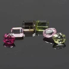 6 Pink and Green Tourmaline - 4.33 ct. - No Reserve Price