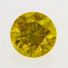"0.55 Carat ""RARE"" Round Brilliant Natural Diamond FANCY VIVID YELLOW GIA Certificate"