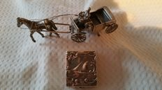 Silver miniature of carriage with horse, Dutch hallmark, ca. 1950 and antique silver lidded box, Holland, ca 1900