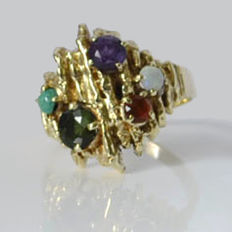Cocktail ring 14 kt with ruby, tourmaline, amethyst, turquoise and opal, like new