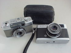Two widely appreciated Olympus 35 mm cameras: The Olympus Pen EE-2 (half-frame) and the Olympus Trip 35
