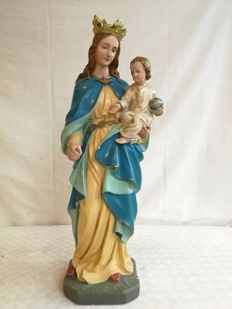 Antique Madonna and child with crown, plaster, Italian origin, late 19th / early 20th century