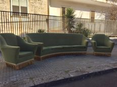 Curved sofa and armchairs 1950-60s