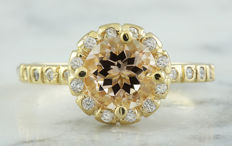 1.24 Carat Morganite And Diamond Ring In 14K Solid Yellow Gold - Ring Size: 7; No Reserve; Free Resizing