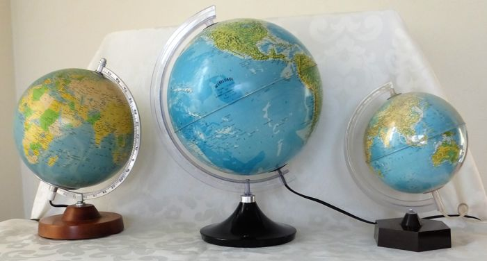 Three globes including - Räth political globe on wooden base