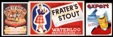 Poster and 2 cardboard advertisements of beers from Waterloo Brewery - 1960