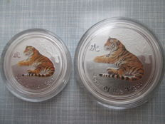 Australia - ½ and 1 dollar 2010 'Lunar series II Year of the Tiger' - ½ and 1 oz coloured silver