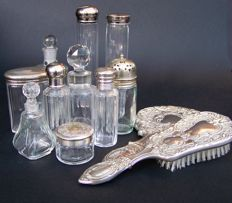 English Silver Plated Dressing Table Set Mirror, Brush & Topped Glass Perfume Bottles 19th & 20th Century